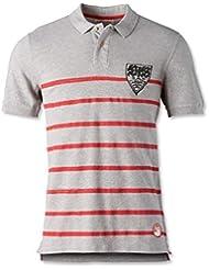 VfB Stuttgart Fairplay Polo Stripes Polo Shirt grau mit WAPPENDRUCK Hingucker