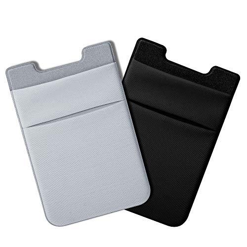 COCASES 2er Handy Kartenhalter, Doppel Fächer Klebende Smartphone Kartenfach Kartenhalterung Smart Wallet Kartenhülle Kartenetui(Schwarz-Grau)