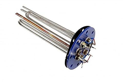Flanschheizkörper Heizstab 6 kW, 3 x 2 kW, Flansch 180 mm.