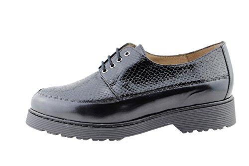Scarpe donna comfort pelle PieSanto 175661 con Lacci larghezza speciale Negro (Black)