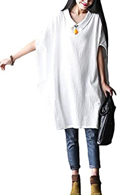 Vogstyle Women's New Solid Color Dress Cotton Loose Top