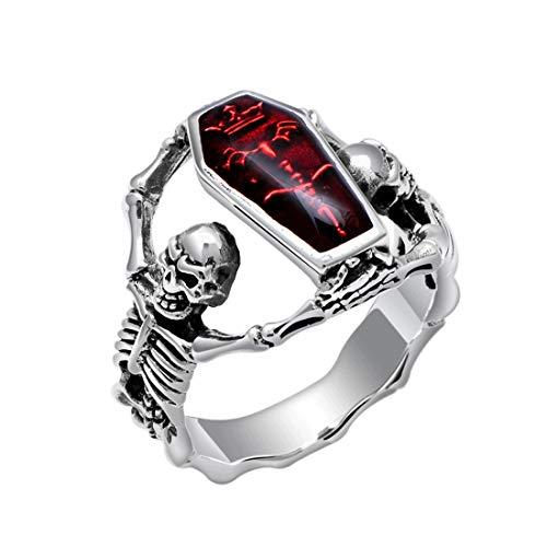 DALARAN Anillo de Vampiro Cráneo de Zirconia cúbica para Hombres Anillo de cúpula Rojo Sangriento Sortija gótica