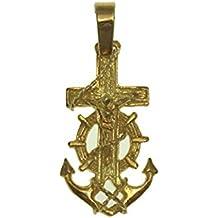 Cruz comunion marinera con cristo en oro amarillo de 18 quilates