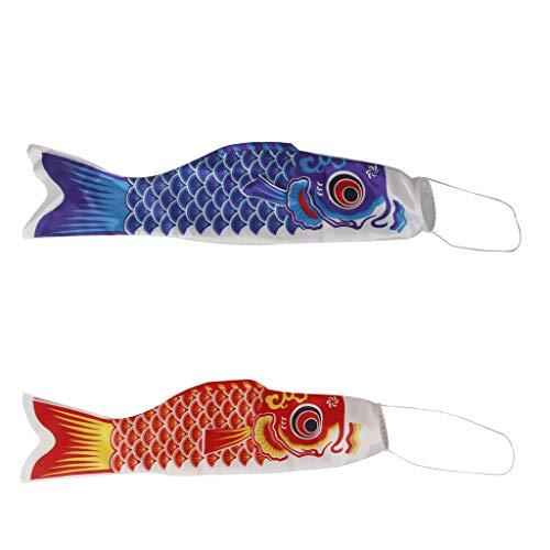 FLAMEER 2 Piezas Koinobori Calcetín de Viento Carpa Japonesa Serpentina de Carpa Pescado Bandera Cometas (Rojo y Azul) -55cm/ 70cm