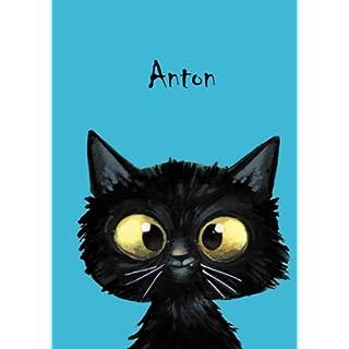 Anton: Personalisiertes Notizbuch, DIN A5, 80 blanko Seiten mit kleiner Katze auf jeder rechten unteren Seite. Durch Vornamen auf dem Cover, eine Coverfinish. Über 2500 Namen bereits verf