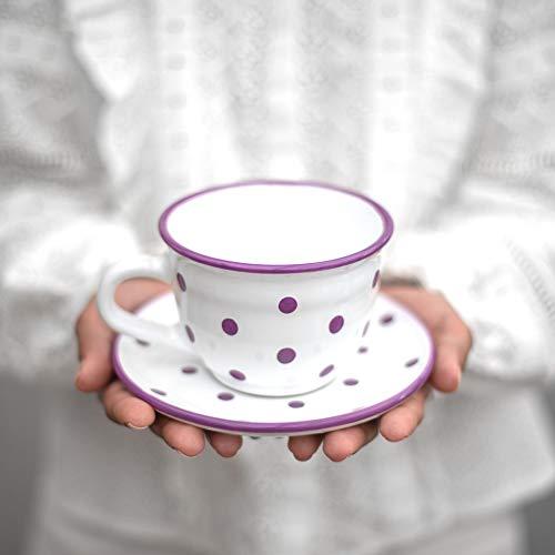 City to Cottage | Tasse et sous tasse à café, à thé | blanche à pois violets en céramique faite et peinte à la main| Grande 350ml