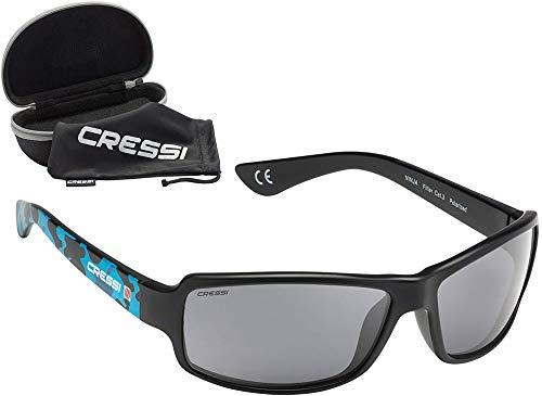 Cressi Ninja, Occhiali UltraFlex Sportivi da Sole Polarizzati con Protezione UV 100% Unisex Adulto, Blu Camou/Lenti Grigio Scuro