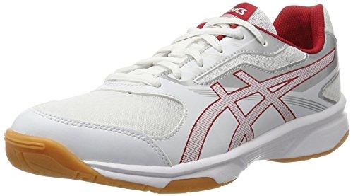 Asics Herren Upcourt 2 Hallenschuhe, Weiß (White/Prime Red/Silver 0123), 41.5 EU (Track-schuhe Herren)