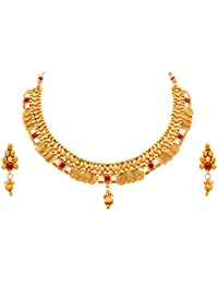 JFL - Traditional Ethnic One Gram Gold Plated Cz American Diamond Red & Green Stone Designer Necklace Set With...