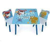 Preisvergleich für Homestyle4u 1761 Kindersitzgruppe Holz, Kindermöbel Set Mit Kindertisch 2 Stühle, Blau