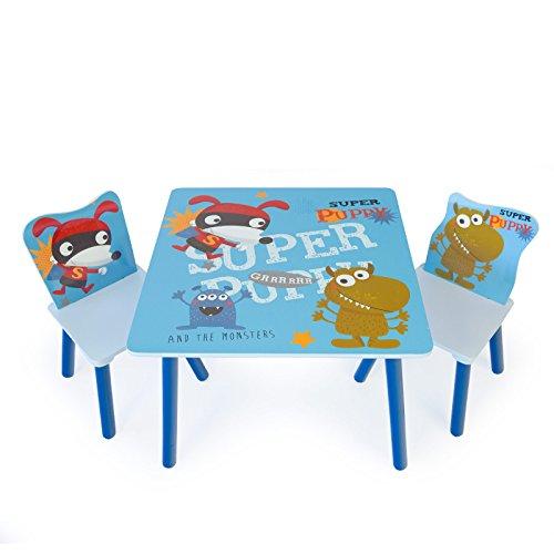 Homestyle4u 1761 Kindersitzgruppe Holz, Kindermöbel Set aus 1 Kindertisch und 2 Stühle mit Hunde, Blau