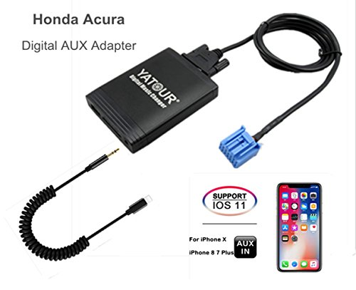 Honda Acura iPhone Stereo Aux Adapter, KFZ Digital Audio-Eingang Interface mit SD-Karte, iPod MP3 USB, 3,5 mm AUX IN, Lighnting Musik Player für Honda 1998-2005, Acura 1999-2006 (M06-HON1) Honda Acura Stereo