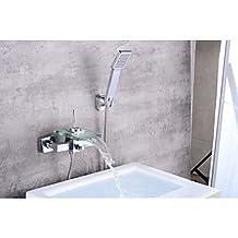 Haisen contemporaneo set centrale cascata with Valvola ceramica sola maniglia due fori for cromo, rubinetto per vasca da bagno