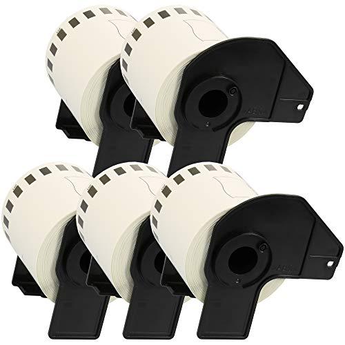 5 x DK-22251 Rot und schwarz auf weiß 62mm x 15.24m Endlos-Etiketten kompatibel für Brother P-Touch QL-800, QL-810W, QL-820NWB Etikettendrucker