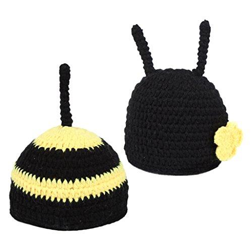 ec632eae70a93 MagiDeal Bébé Nouveau-né Abeille Costume Déguisement Chapeau Vêtement  Tricoté Accessoires de Photographique