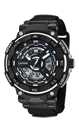 Calypso digital LCD Reloj de hombre de cuarzo con Esfera Analógica Pantalla y Correa de plástico en color negro k5673/4