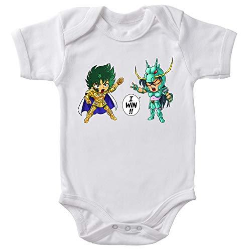 Saint Seiya Lustiges Weiß Baby Strampler - Capricorn Shura and Dragon Shiryu (Saint Seiya Parodie) (Ref:682)