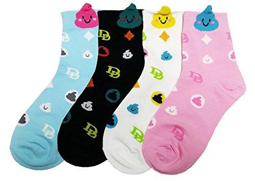 JJMax Women's Emoji Happy Poop Emoticon Poo Matching Cotton Blend Socks