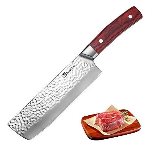 PAUDIN Chinesisches Messer 17cm, Hackmesser 7Cr17Mov Kochmesser aus hochwertigem Edelstahl mit Hammerschlag, Küchenmesser mit Scharfer Klinge und ergonomischem Griff