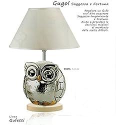 LAMPADA GUFO GUGOL KIKKE H CM45 CAPPA BIANCA INSERTI DORATI LAMINATO ARGENTO MADE IN ITALY