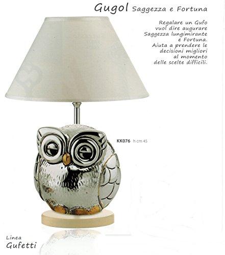 Kikke lampada gufo gugol h cm45 cappa bianca inserti dorati laminato argento made in italy