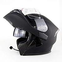 GWJ Modular Moto Casco Motocicleta Bluetooth Casco Estéreo Calidad De Sonido Destapado Casco con Cuernos Y