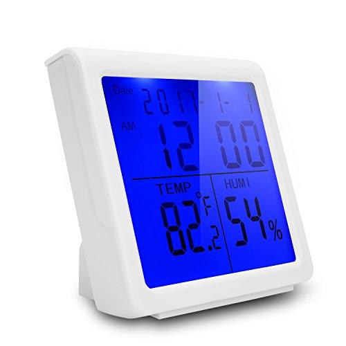 Zoegate Digital Hygrometer Thermo-Hygrometer Raumluftüberwachtung Thermometer Temperatur und Luftfeuchtigkeitmesser mit LCD-Bildschirm und Wecker Datum Zeit °C /°F Adj Lcd