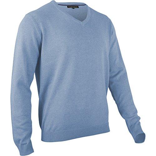Herren V-neck Wolle Pullover (hemmy Herren Pullover Feinstrick V Neck meliert - hellblau - jeans blau L)