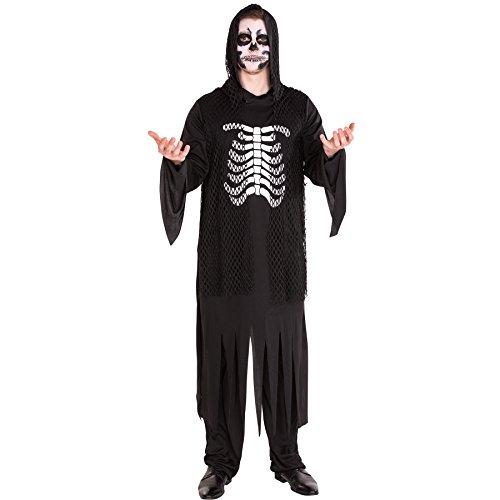 Herren Dämon Zombie Kostüm Herrenkostüm inkl. Oberteil mit Kettennetzoptik, Hose & Bindegürtel (M | Nr. 300179) (Tag Der Toten Tracht)