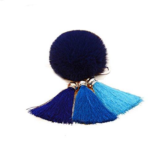 URSFUR Schöne Fellbommel aus Kunstfell Tasche Pompons Handtasche Schnalle Schlüsselanhänger -Marineblau