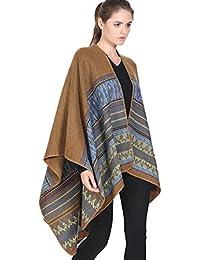 ZKOO Femmes Cachemire Poncho Echarpe Géométrique Impression Poncho Châle  Epaisse Manteau Capes Chaud ... c53b472ce80