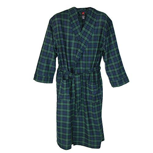 Hanes Herren-robe (Hanes Herren Morgenmantel, Kariert mehrfarbig mehrfarbig One size Gr. M/L, hunter green)