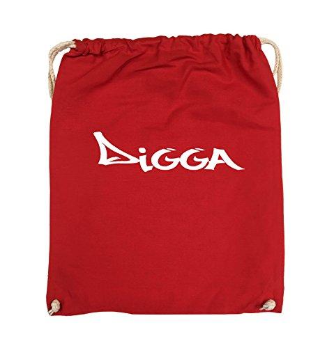 Borse Comiche - Digga In Stile Graffiti - Borsa Girevole - 37x46cm - Colore: Nero / Rosa Rosso / Bianco