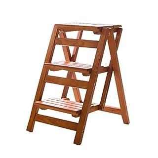 AYLS Haushaltsleiter Faltscheren Thickening Stuhl Stuhlbau in der Multi-Funktion Kletternladder DREI Stockwerke,walnutcolor