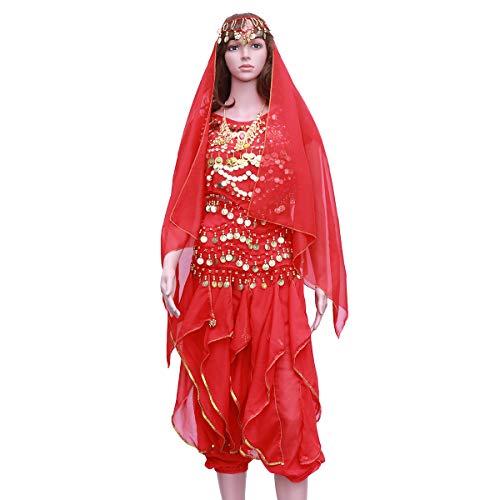 FENICAL 5 Teile/Satz Indischen Tanz Bauchtanz Kurzarm Rotary Hosen Leistung Set (Rot, Tops + Pants + Taille Kette + Headwear Schleier + Halskette)