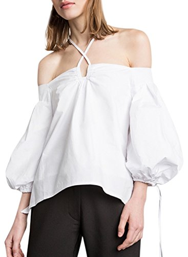 Azbro Women's Halter off Shoulder Lantern Sleeve Blouse white