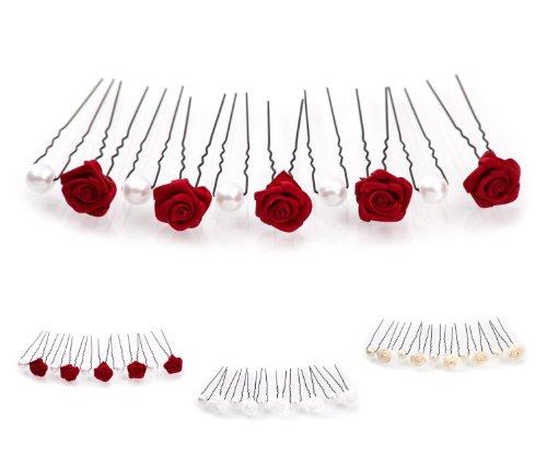 10tlg. Braut - Haarschmuck Set - Brauthaarschmuck | Set-2-S - Bordeaux Rot