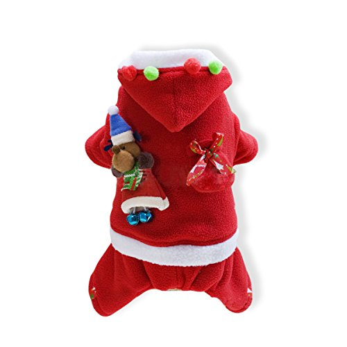 Cute Bear Polar Kostüm (PETCUTE Haustier Weihnachten Kostüme Hund Anzug mit Kappe Weihnachtsmann Kapuzenpulli Katzen Weihnachtskleid Geschenk Winter Kleidung)