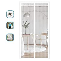 Gluckluz Magnetic Screen Door with Heavy Duty Mesh Anti Mosquito Bug Divider Curtain Dogs Pets Friendly Door Screen for Living Room Bedroom Kitchen (80cm x 210cm,White)