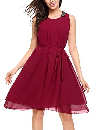 Beyove Damen Chiffon Kleid Sommerkleid mit Plissee-Falten Spitzenkleid Cocktailkleid...