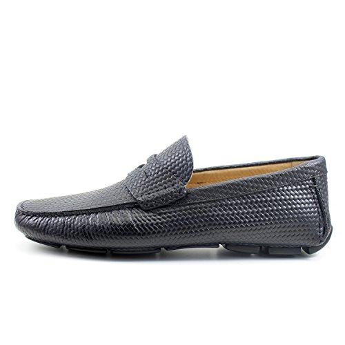 GIORGIO REA Chaussures Homme Car Shoes Noir Mocassins Mâle Main Italiennes, Cuir, Élégant, Classique, Oxford Classic Shoes