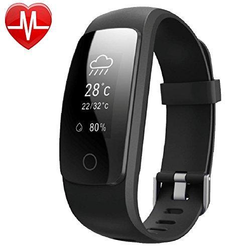 Yamay® Fitness-Tracker mit Herzfrequenzsensor Smart-Armband, Aktivitäten-Tracker, mit Bluetooth und Schrittzähler mit Stoppuhr/Wettervorhersage/14Training Modi/Anrufe/SMS/SNS/Sitzalarm für Android und IOS Smartphones