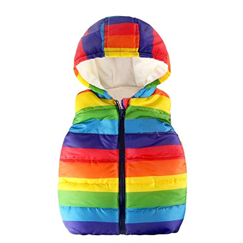 Kobay Baby Unisex Gilets, Toddler Kids Baby Grils Boys Sleeveless Strip Rainbow Hooded Warm Waistcoat Top Outwear Clothes Suit for 1-6 Years