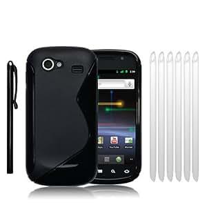 Pack Coque De Protection Tpu Silicone + 6 Films Protections d'Ecran + Stylet pour Samsung Google Nexus S - Noir
