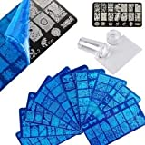 Yinikiz Nail Art Stamping Kit with 4pcs Random Rectangular Steel Image Plates and 1pc Silicone Stamper & Scraper