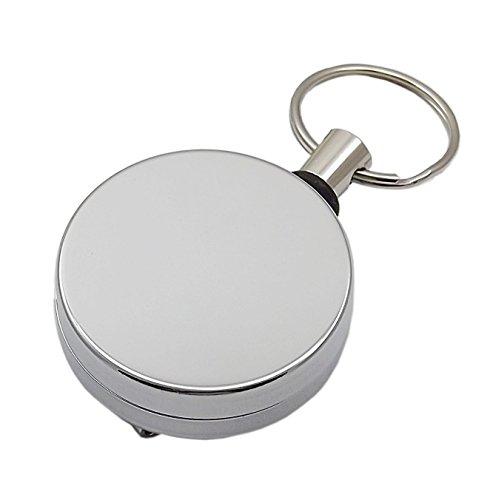 Praktischer Rollmatik aus Metall in Silber - Extra Reißfeste Schnur Transponder Ring
