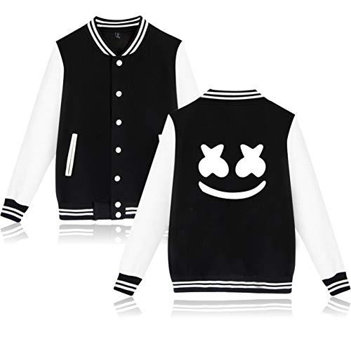 SERAPHY Unisex Jacke DJ Marshmello Marshmello Sweatshirt Baseball Jacke für Herren and Damen-3408-Black-S Baseball-sweatshirt