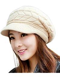 DELHITRADERSS® Winter Hats for Women Girls Warm Wool Knit Snow Ski Skull Cap with Visor(Beige)