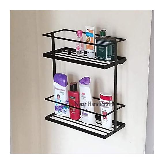 Decorlay Space Saving Floor Standing & Wall Hanging Two Tier Kitchen Spice Rack Shelf/Kitchen Storage/Bathroom Rack, Color- Black