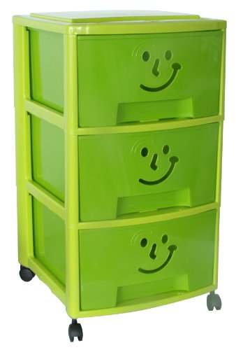 """M-Home Schubladenrollwagen """"Gesicht"""" mit 3 Schüben in grün """"PLS6093"""""""